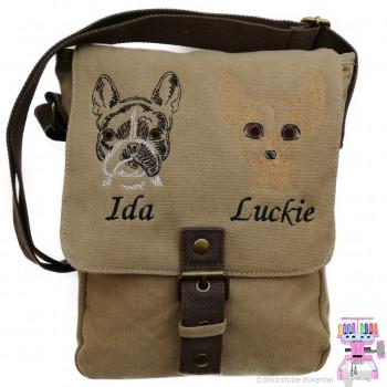 Canvas Tasche mit Motiv Chihuahua und Französische Bulldogge