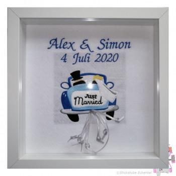Bilderrahmen Hochzeit Just Married - Namen + Datum
