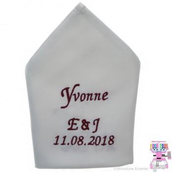 Stoffservietten Hochzeit Gäste + Initialien und Datum 50 x 50 cm