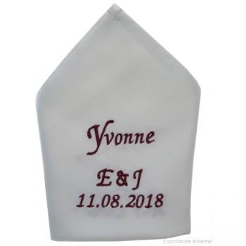 Stoffservietten Hochzeit Gäste + Initialen und Datum 50 x 50 cm