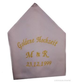 Stoffservietten Goldene Hochzeit Initialen und Datum