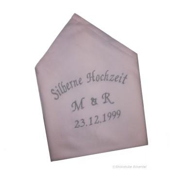 Stoffservietten Silberne Hochzeit Initialen und Datum