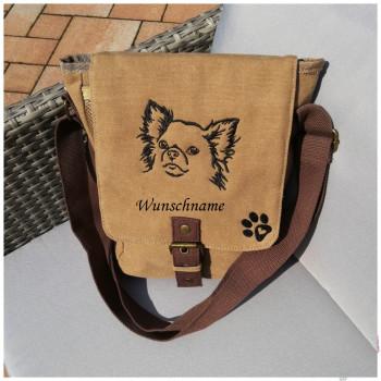 Canvas Tasche mit Motiv Chihuahua Pfote und Namen bestickt