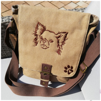 Canvas Tasche mit Motiv Chihuahua und Pfote bestickt
