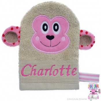 Waschhandschuh Affe Name Charlotte