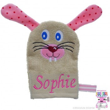 Waschhandschuh Hase Name Sophie