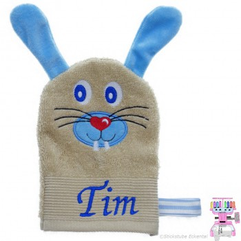 Waschhandschuh Hase Name Tim