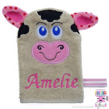 Waschhandschuh Kuh Name Amelie