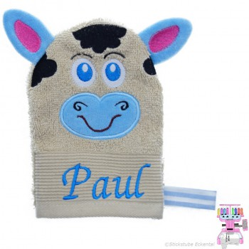 Waschhandschuh Kuh Name Paul