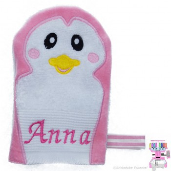 Waschhandschuh Pinguin Name Anna